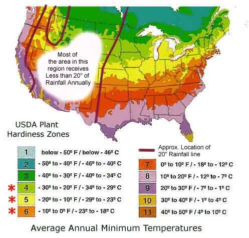 Affordable Us Hardiness Zones And Inch Rainfall Lines With Gardening Growing Zones
